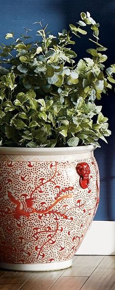 Chic and sophisticated, our handcrafted, handpainted ceramic planter is inspired by artistic works from the Ming Dynasty. Showcasing traditional patterns and motifs in the classic coral and white palette, each wheel-thrown piece is an inspired, one-of-a-kind work of art.
