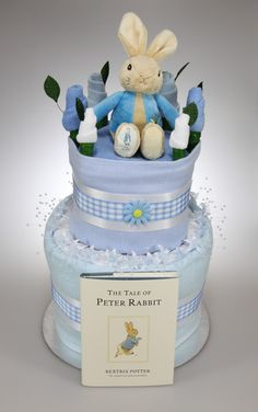 Baby Boy Two Tier Nappy Cake with Peter Rabbit