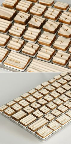 Beautiful wooden keyboard that gives you a unique tactile sensation for each letter of the alphabet. Techno Gadgets, Gadgets And Gizmos, Cool Gadgets, Geek Out, Keyboard, Alphabet, Geek Stuff, Concept, Make It Yourself