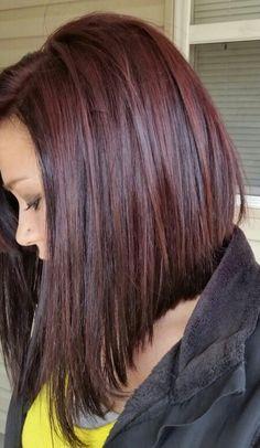 Reddish brown long angled bob