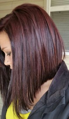 Reddish brown long angled bob