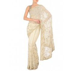 Sequined Floral Embellished Cream Sari