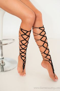 Black crochet Lace up Barefoot Sandal Gladiator style by barmine