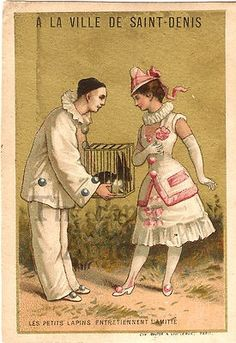 Pierrot gifts Pierette with petit lapin. Vintage Labels, Vintage Ads, French Vintage, Vintage Posters, Pierrot, Vintage Pictures, Vintage Images, Physical Comedy, Vintage Clown