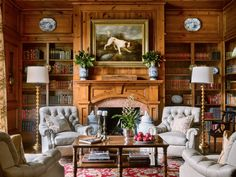 Inspiring Interior Designers-James Farmer Home Library-Pine finish-Fireplace design-Study-Rustic Traditional Furniture Br House, Cozy House, Traditional Interior, Traditional House, Traditional Furniture, Modern Furniture, Traditional Ideas, Furniture Design, Traditional Kitchens