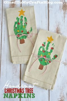 Handprint Christmas Tree Napkins For Kids To Make! - - With our simple Handprint Christmas Tree Napkins tutorial, you are sure to make something visually inspiring & loved by the lucky receiver. Kids Crafts, Preschool Christmas Crafts, Baby Crafts, Toddler Crafts, Christmas Projects, Kids Christmas, Holiday Crafts, Christmas Trees, Tree Crafts