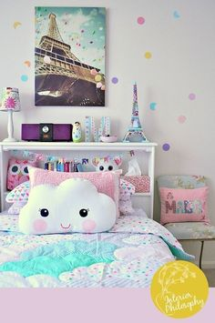 Looking for purple bedroom ideas? It's good, but a purple bedroom will be better when combined with other colors: white, blue and so on, as described here. Purple Bedrooms, Teen Girl Bedrooms, Unique Teen Bedrooms, Girls Bedroom Colors, Girls Room Design, Playroom Design, Beautiful Bedrooms, Pastel Room, Kawaii Room