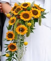 Bright and cheerful, sunflower wedding bouquets add warmth and happiness to the wedding. Here we compiled 20 best sunflower bouquet ideas for your inspiration! Bouquet En Cascade, Cascading Wedding Bouquets, Bridal Flowers, Sun Flowers, Purple Flowers, Wild Flowers, Yellow Bouquets, Sunflower Bouquets, Sunflower Boutonniere