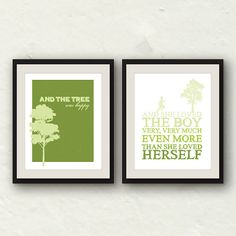 Baby boy theme: The Giving Tree /Shel Silverstein Nursery Decor Set by PaperFinchDesign. , via Etsy.