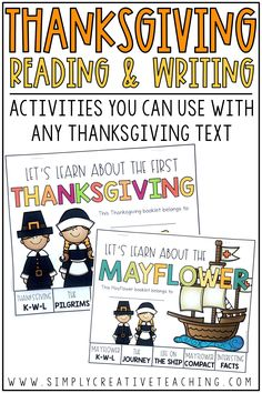 These learning books are great for learning about the Mayflower and the first Thanksgiving in your first grade, 2nd grade, or 3rd grade classrooms. These printable books can replace boring worksheets! Students will be writing the facts about the first Thanksgiving and the Mayflower. They'll write about pilgrims, food eaten at the Thanksgiving dinner, the history of Thanksgiving, and more. These books can go with any of your Thanksgiving lessons!