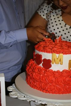 Bolo vermelho e branco #casamento