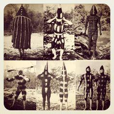 Hombres Selk'nam con sus pinturas rituales - Ésta serie de fotos fueron   tomada a principio de siglo..  Arte puro // Tierra del Fuego // Ushuaia, Argentina