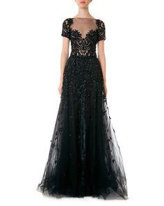 zuhair murad gown black lace bead full skirt short sleeves sweetheart illusion