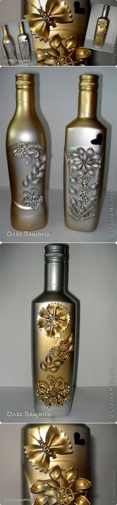 'Макаронные' бутылки | Страна Мастеров | Поделки из макарон. | Постила Wine Bottle Glasses, Wine Bottle Art, Diy Bottle, Wine Bottle Crafts, Recycled Wine Bottles, Painted Wine Bottles, Bottles And Jars, Glass Bottles, Decorated Bottles