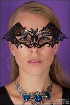 Bat Black Metal Venetian Atelier Mask