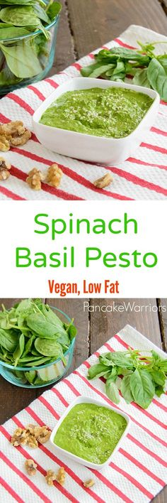 Spinach Basil Pesto Recipe - this low fat, vegan pesto is packed with flavor and a full serving of veggies! This is ready in minutes and perfect on pizza, pasta or sandwiches!