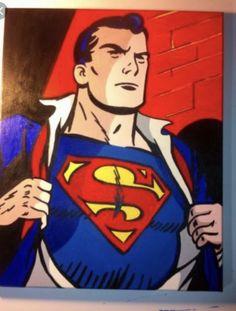 Superman Pop Art acrylic painting on canvas Superhero Room Decor, Superhero Pop Art, Wood Canvas, Acrylic Painting Canvas, Painting For Kids, Art For Kids, Batman Painting, Nerd Art, Superman
