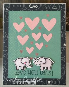Love You Tons! - Scrapbook.com - Use Lawn Fawn dies and coordinating stamps to create handmade pieces for a lovely card.
