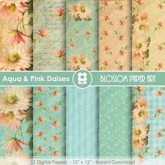 Digital Paper - Aqua Floral Digital Paper Pack - Daisies - Floral Designs - Scrapbooking - Printables - INSTANT DOWNLOAD - 1643