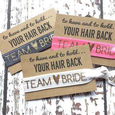 Bachelorette Party Favors Hair Tie Favor Team Bride Moh Goody Bag... ($1.70) ❤ liked on Polyvore featuring accessories, hair accessories, black, ties & elastics, ponytail hair ties, bridal headband, elastic headbands, bride hair accessories and black elastic hair ties