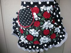 Aprons  Womens Half Aprons  Skull and Roses Apron  by AnniesAttic, $28.95