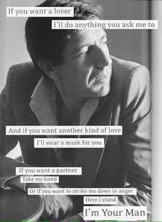 I have loved this song since i was Little! Mr Cohen. Such a talent!