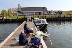 Der Hafen von Gager – ein wunderbarer Ort zum Malen auf Rügen | Malschüler in der Marina von Gager (c) Frank Koebsch (1)