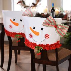 Snowman Chair Covers, Set of 2 Mrs. Snowman Chair Covers, Set of 2 Christmas Sewing, Felt Christmas, Christmas Snowman, Christmas 2019, All Things Christmas, Christmas Holidays, Christmas Ornaments, Snowman Door, Christmas Kitchen