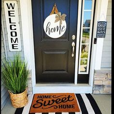 porch decorating on a budget . porch decorating ideas for summer . porch decorating on a budget diy . porch decorating ideas on a budget . Front Door Signs, Front Door Decor, Entryway Decor, Front Doors, Dark Front Door, Porche Frontal, Small Porch Decorating, Small Front Porches, Front Porch Plants
