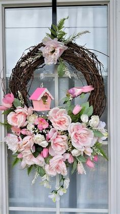 spring wreath pink wreath bird birdhouse shabby chic Romantic home decor floral door wreath Easter wreath Mother's day gifts cottage style- Carolyn Huneycutt Pink Wreath, Diy Spring Wreath, Spring Door Wreaths, Easter Wreaths, Shabby Chic Pink, Shabby Chic Wreath, Floral Arrangements, Crafts, Decor Ideas