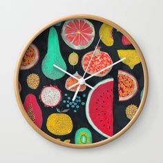 Fruit Wall Clock by mouni Wall Clock Frame, White Frames, Unique Wall Clocks, Natural Wood, Hands, Deep, Fruit, Crystals, Tableware