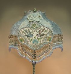 Victorian Beaded Floor Lamp | with one-of-a-kind beaded victorian lamp shades