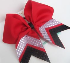 Red Cheer Bow with silver and black chevron sequin trim Softball Bows, Football Cheer, Cheerleading Bows, Cheer Stunts, Cheer Dance, Softball Players, Cute Cheer Bows, Cheer Hair Bows, Cheer Mom