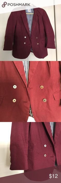 """Tommy Girl Double-Breasted Burgundy Blazer Juniors sizing, never worn by me. Poshing bc it is too small. 3/4 length sleeve, color is a true burgundy and not as dark as oxblood. Double-breasted with beautiful gold buttons in front and on sleeve. Beautiful striped lining on inside with inside pockets. Outside pockets non-functional. Measurements: bust: 18"""", length 25"""", sleeves 20"""". Zero flaws minus the wrinkles. Couldn't find exact stock image, but fit is very similar to last picture - only…"""