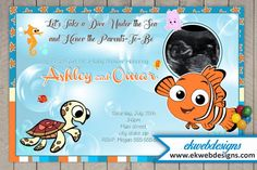 Custom Sonogram Baby Shower Invitations Featuring Finding Nemo