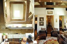 beams, good leather, dark floor light walls