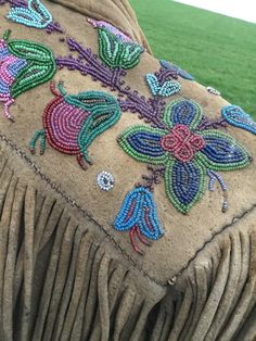 Historic Métis Fringed and Beaded Buckskin Jacket with Hand Sewn Ceramic Beadwork on Front, Cuffs, Shoulder & Pockets European Men, Open Market, Fur Trade, Aboriginal People, Red River, First Nations, Floral Motif, American, Three Dimensional