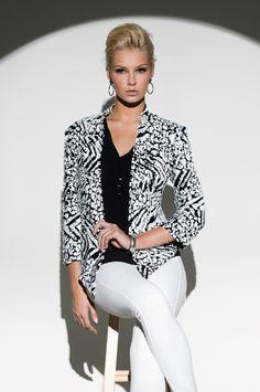 Style 183655 - Printed Sequin Embellished Jacket