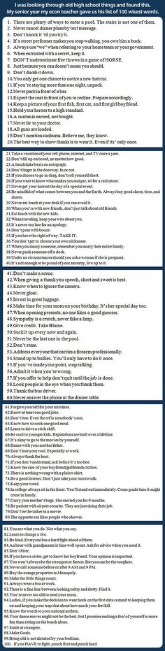 A list of 100 wisest words… This teacher should get a medal.