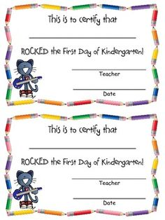 Rocking the First Day of PreK/Kindergarten Certificate FREEBIE!