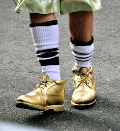 "Golden ""Slippers."" A footwear must for the wenches in the Philadelphia Mummers Parade."