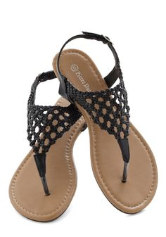 Be-Weave What You See Sandal - Black, Solid, Woven, Boho, Low, Faux Leather, Summer