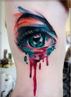 I'm kinda obsessed with watercolor tattoos! 28 Incredible Watercolor Tattoos And Where To Get Them Watercolour Tattoos, Watercolor Eyes, Design Tattoo, Tattoo Designs, Tattoo Ideas, Tatouage Sublime, Eye Tattoo Meaning, Tattoo Motive, Tattoo Blog