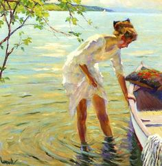 Beautiful.   by artist Edward Cucuel, 'The Boat'