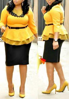 Yellow Polka Dot Appliques Belt Peplum Two Piece Wocker Suit Elegant Midi Dress African Fashion Ankara, Latest African Fashion Dresses, African Dresses For Women, African Attire, African Wear, Elegant Midi Dresses, Formal Dresses With Sleeves, Maxi Dresses, Dress Skirt