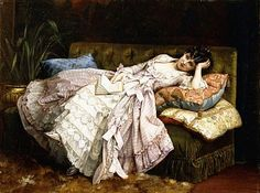 A Reclining Beauty, 1877 by Auguste Toulmouche as fine art print. Stretched on canvas or printed as photo. We produce your artwork exactly like you wish. With or without painting frame. John William Godward, Late Modern Period, Fine Art Prints, Canvas Prints, Italian Artist, French Artists, Painting Frames, Female Art, Sketches