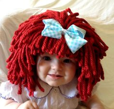 Raggedy ann wig Baby hat Halloween Costume Baby wig  by YumBaby