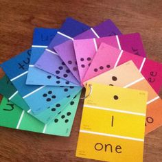 "Three spot paint chips for dot(s), numeral, and written number! This set is 1-10! ;) I am addicted to using paint chips right now! Lowes is going to stop letting me ""visit!"""