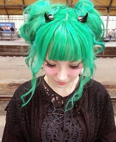 Cute Pastel Goth Fashion / Gothic Girl / Lolita / Black Dress / Jewelry / Pastel Green Hair / Cosplay // ♥ More at: https://www.pinterest.com/lDarkWonderland/