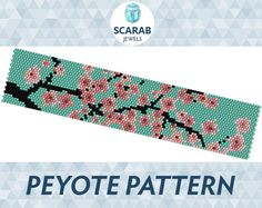 Peyote beading pattern featuring Japanese Cherry Blossom motif on turquoise background Miyuki Delica cylindrical beads size 11 have been carefully selected using the full manufacturers sample charts (not from the software, therefore they will work nicely together - but if you need any help with colours, dont hesitate to contact me). Width: 1.27 (24 columns) Length: 6.51 (188 rows) Colours: 7 Technique: Peyote stitch (even count) PDF file includes: - Pattern Overview - Bead Legend (colour...